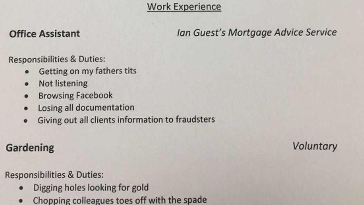 Dad Uses Brutal Honesty When Writing His Teen Daughter's Resume
