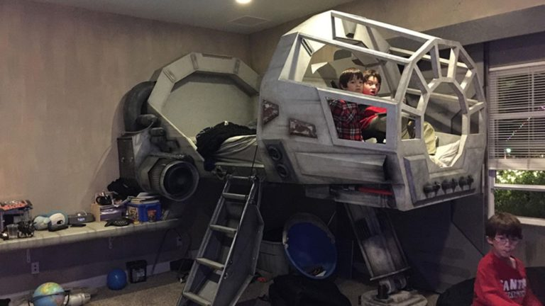 Architect Dad Builds Awesome Millennium Falcon Bed For His Son