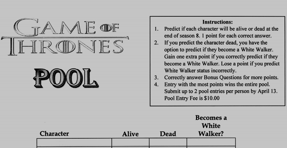 Genius Boss Creates Game Of Thrones Season 8 Death Pool Contest
