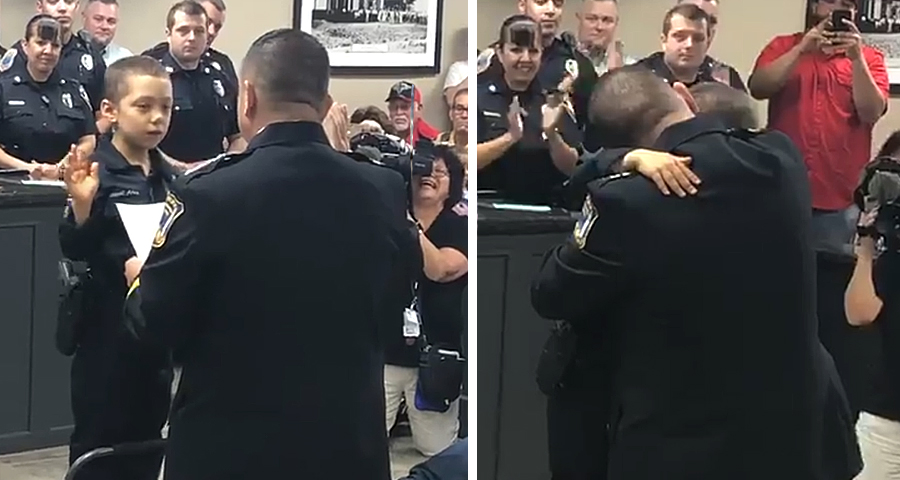 6-Year-Old Girl With Cancer Sworn in as Honorary Police Officer [WATCH]