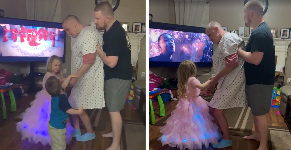 Dad Helps Grandpa Dance With Grandkids