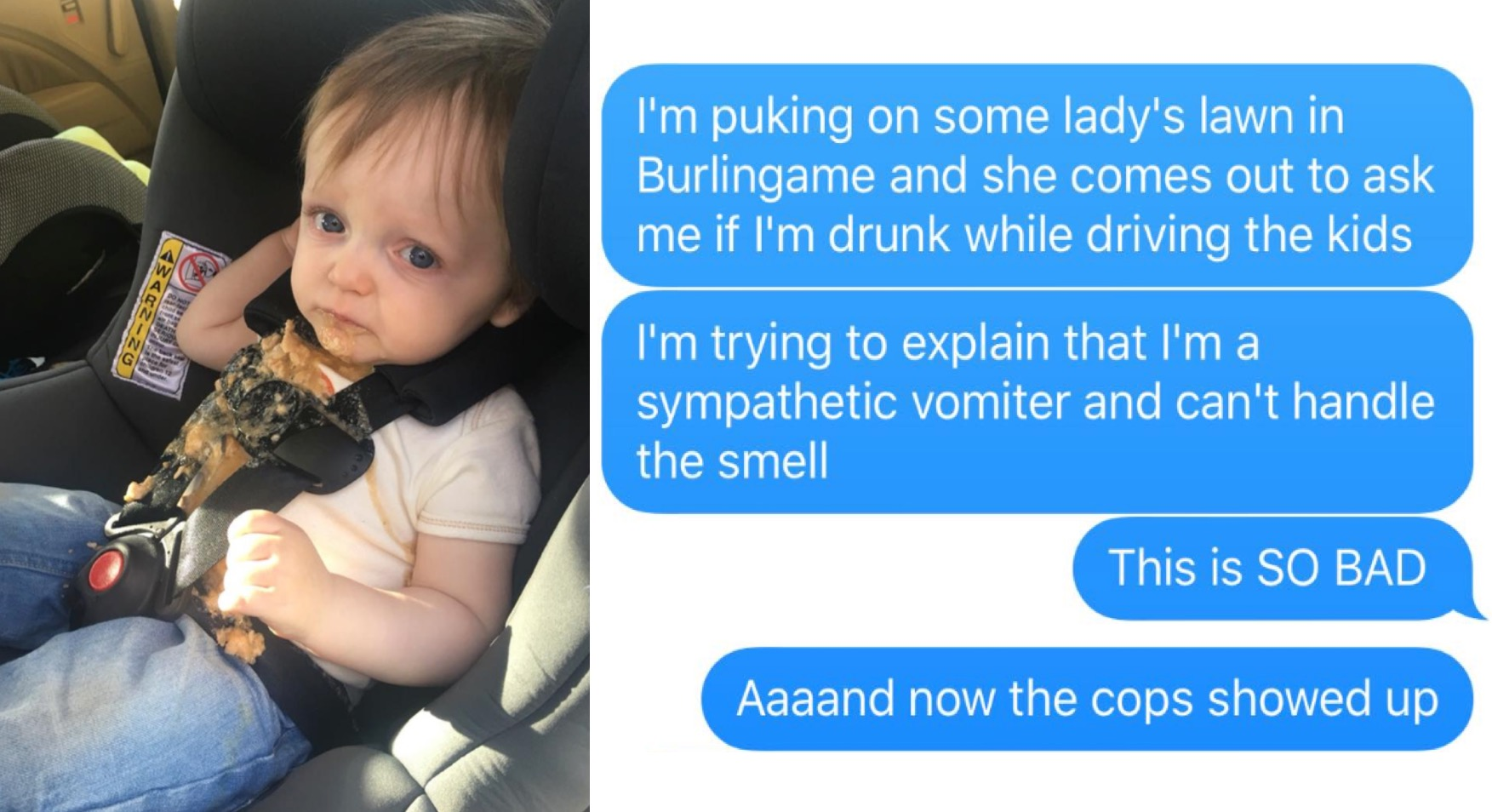 Dad Can't Stomach Toddler's Car Seat Vomit, Fiasco Ensues
