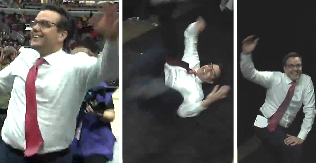 Coach Miles Takes a Tumble