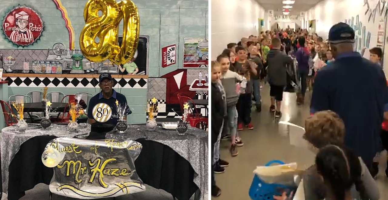 Students celebrate Janitor's 80th