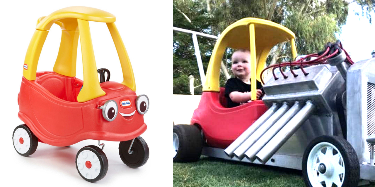 Dad Turns Iconic Cozy Coupe Into A Kid Sized Hot Rod