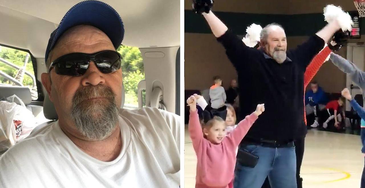Grandpa picks up the Pom Poms