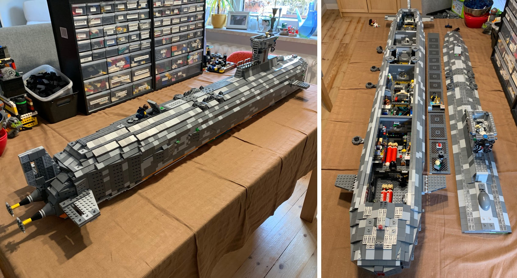 Father and Son Create Massive and Highly Detailed Custom LEGO Submarine