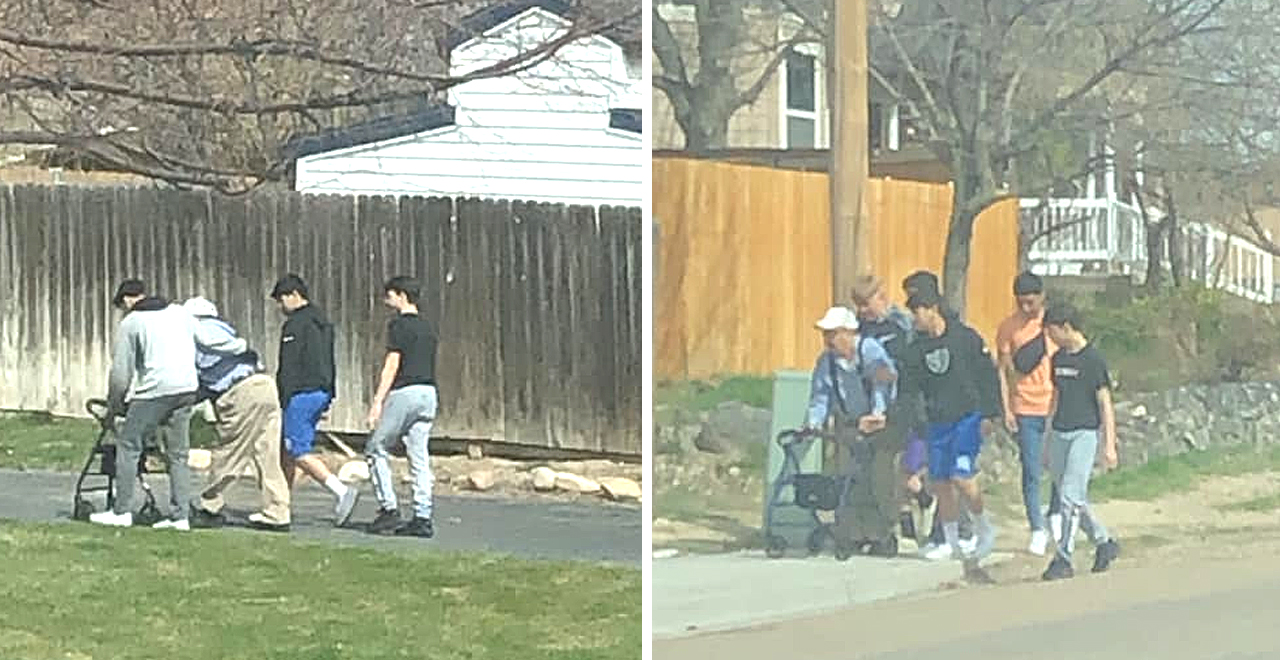Teens Stop to Help Elderly Man