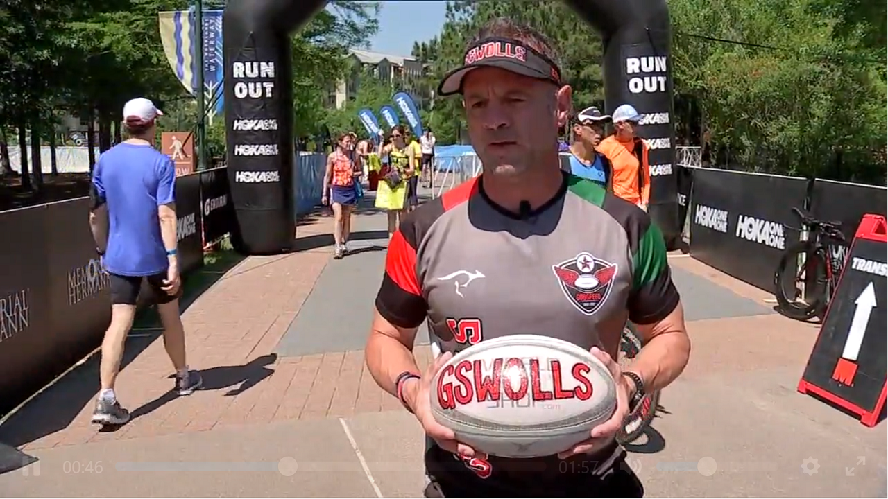 Dad Runs Ironman With Late Sons Rugby Ball