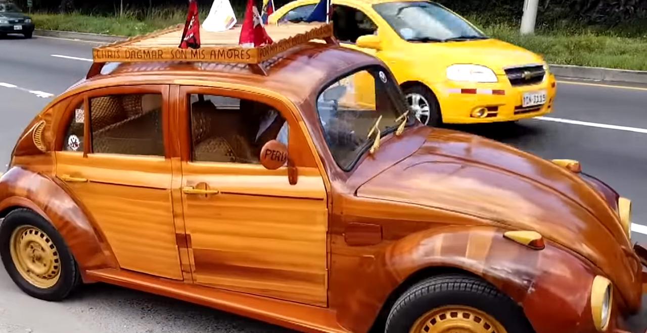 Dad Drives Wood VW Bug
