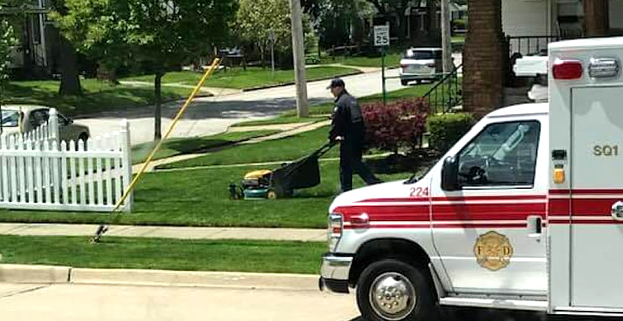 Paramedic Mows Lawn