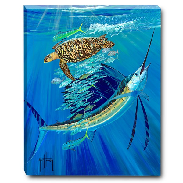 Guy Harvey painting of a marlin and a sea turtle