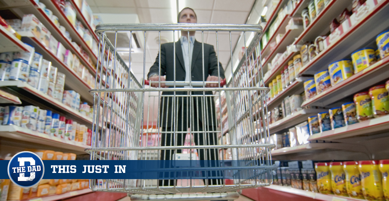 Man with Empty Cart Didn't Make Grocery List