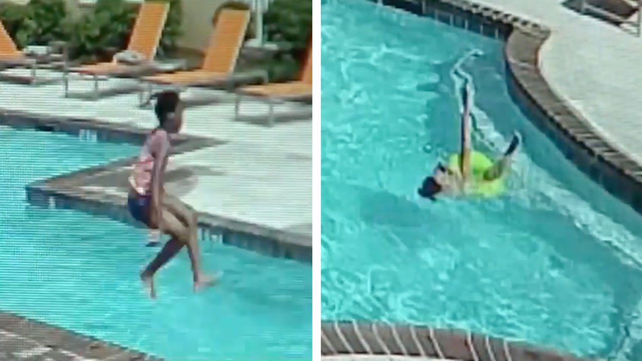 10-Year-Old Girl Saves Her Drowning Sister After Pool-Float Mishap [WATCH]