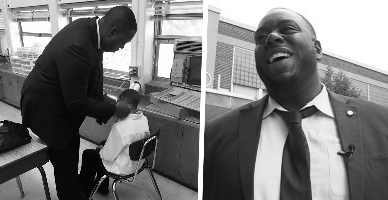 Teacher Robert Dunham Gives Grad Haircuts