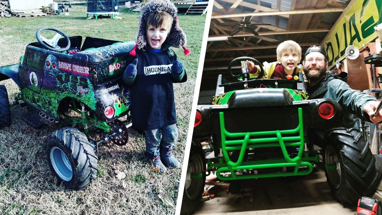 Dad Tricks out His Sons Grave Digger Power Wheels and It's Freakin' Sweet