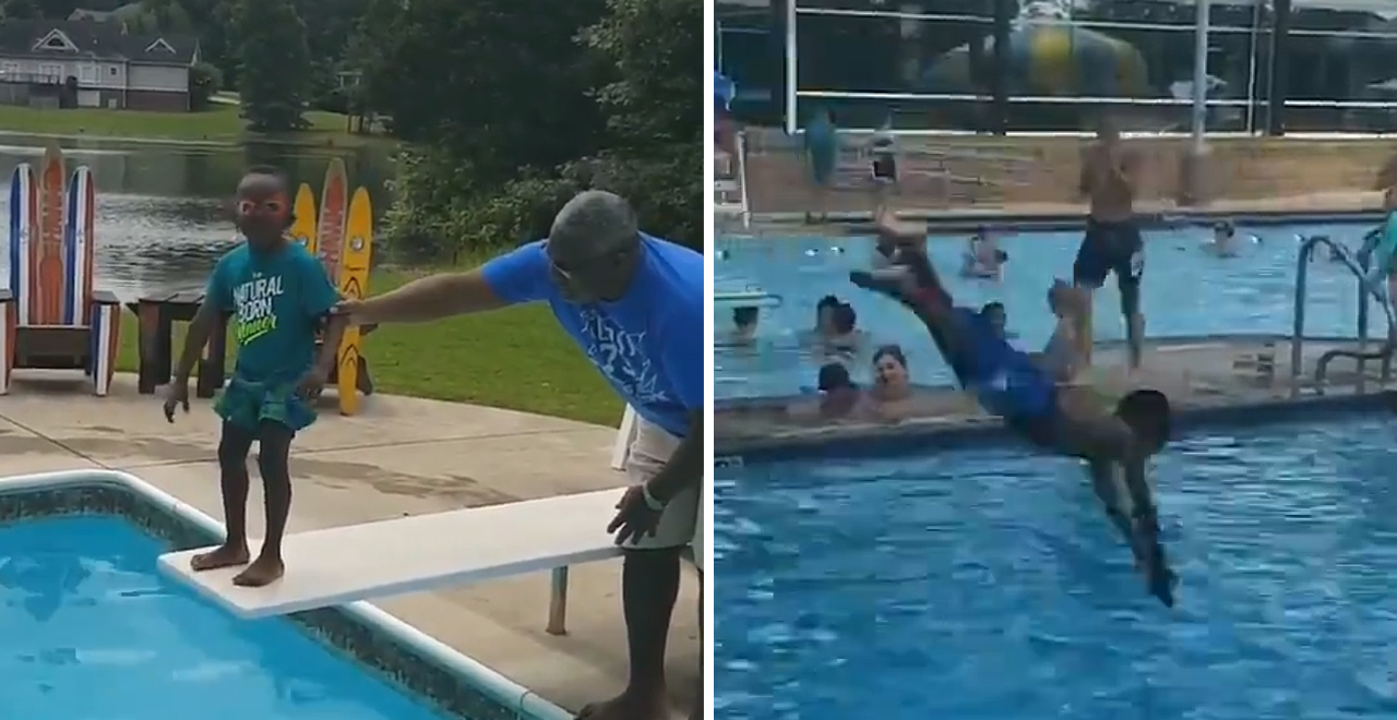 Boy Conquers Fear of Diving