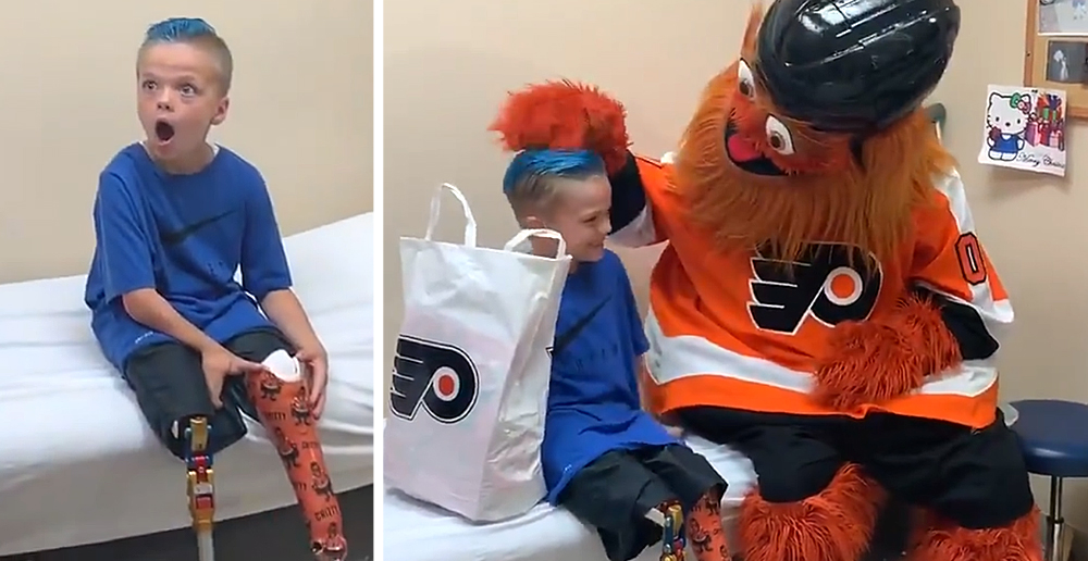 Gritty Surprises Boy With Prosthetic Leg