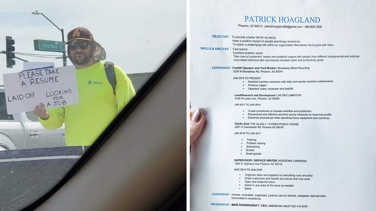Dad Hands out Resumes at Intersection
