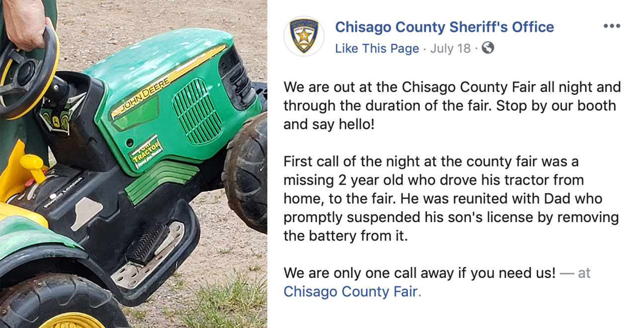 Toddler Joyrides Toy Tractor to County Fair Without Parents' Permission