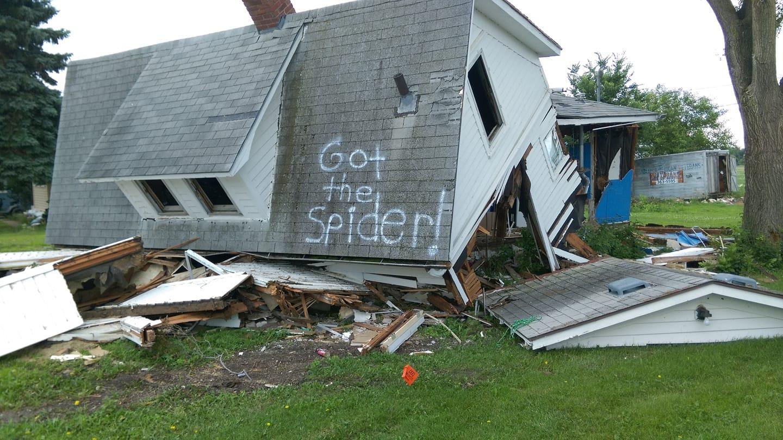 Got the Spider! Demolished House