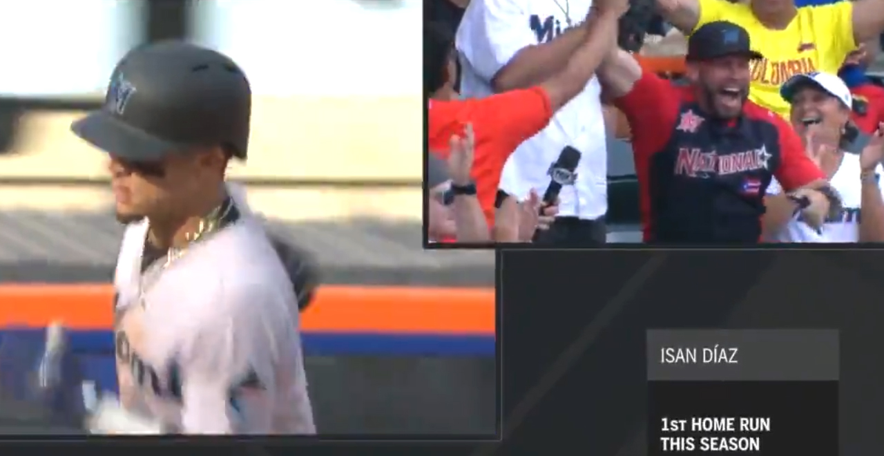 Diaz Hits Homer During Dad's Interview