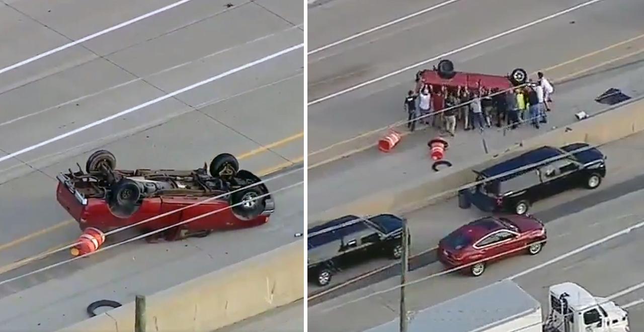 Samaritans Rescue Flipped Truck