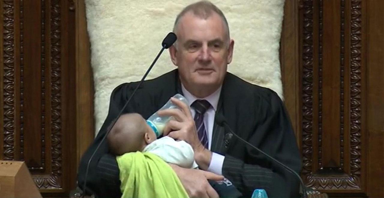 Speaker of the House Trevor Mallard Feeding Baby