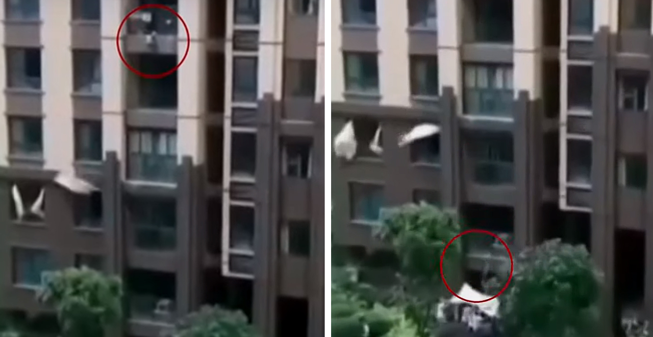 Falling Toddler Caught With Blanket