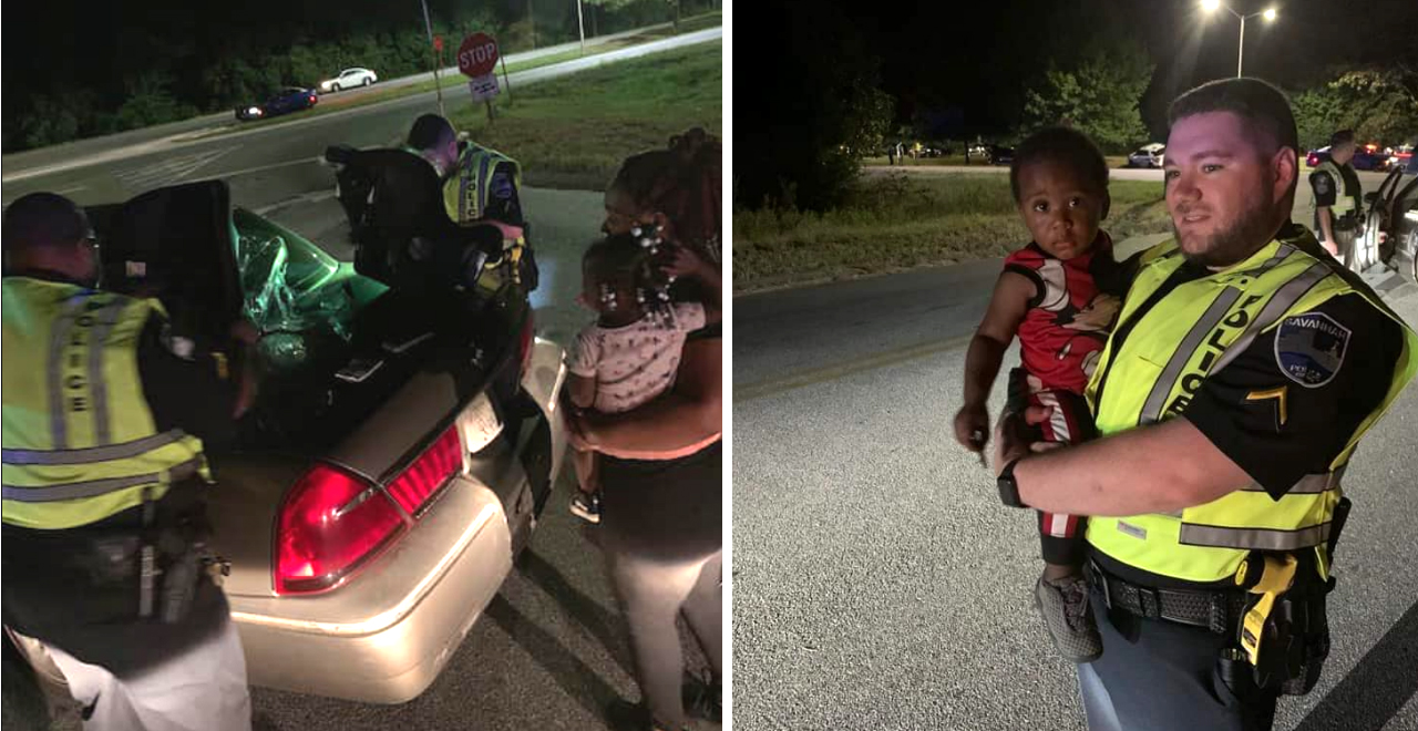 Police Help Mom with Car Seats