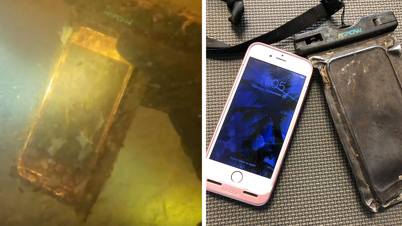 Diver finds lost iPhone
