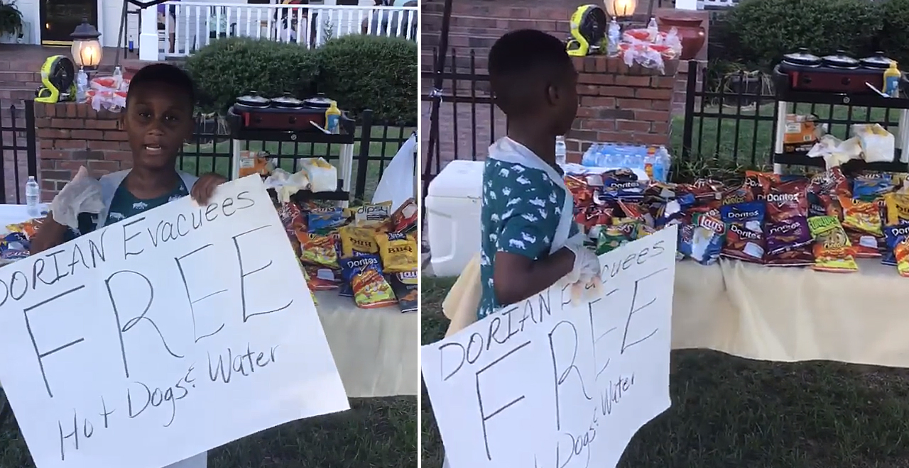 Jermaine Bell Gives Food to Evacuees