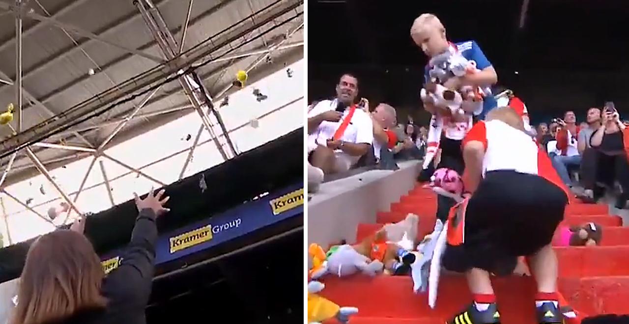 Dutch Fans Throw Stuffed Animals