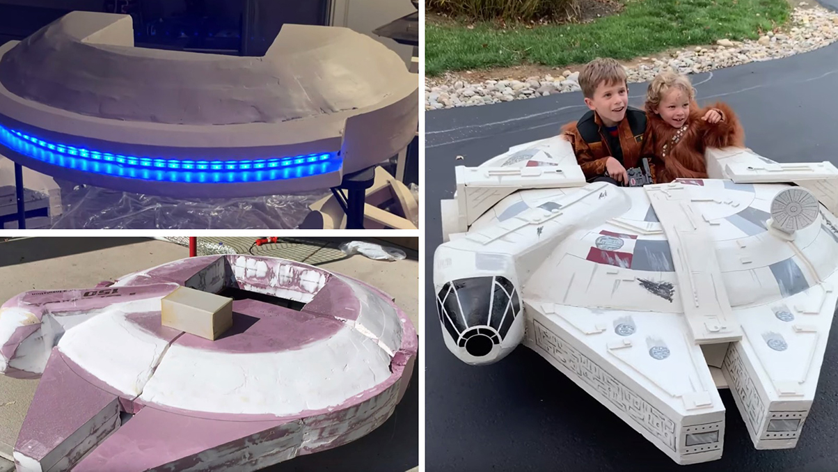 Dad Builds Drivable Millennium Falcon for Halloween Costumes