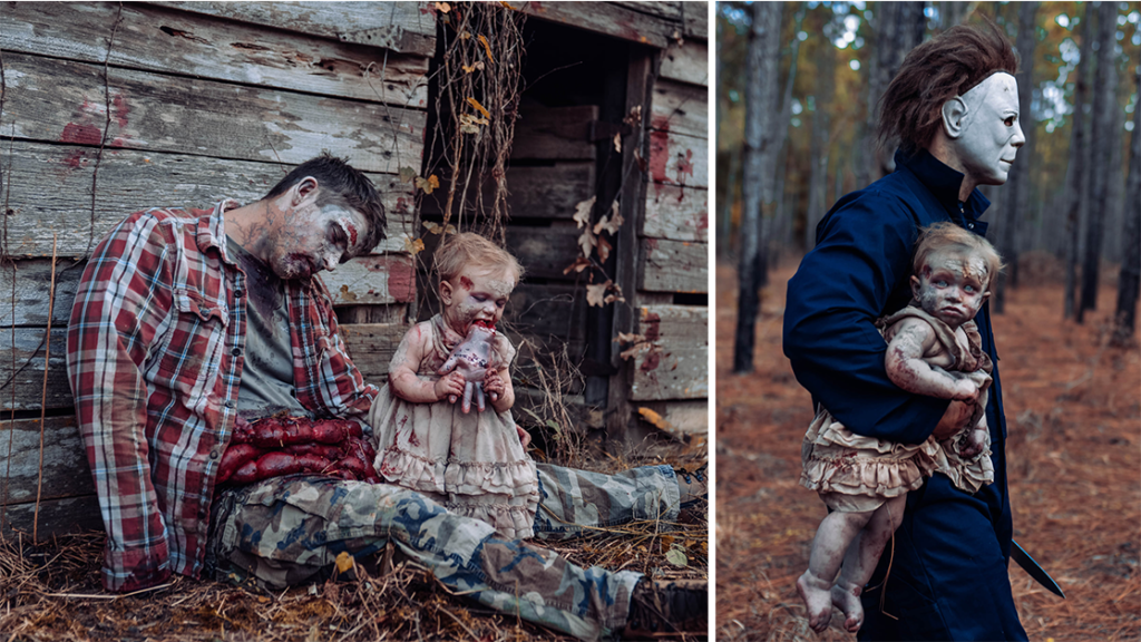 Dad and Daughter in Horror Photoshoot