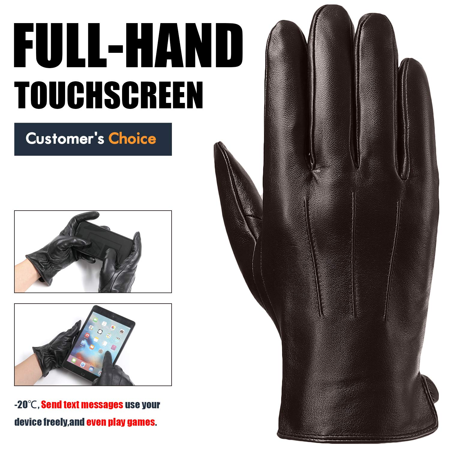 Leather Gloves for Mens With Full-Hand Touchscreen