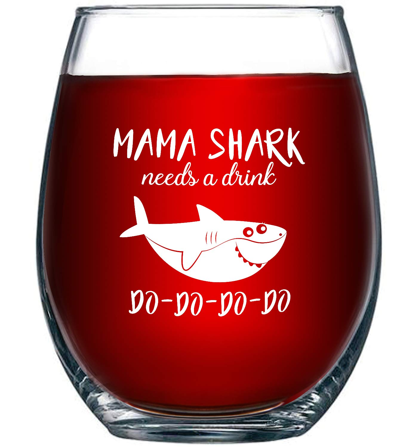 Mama Shark Needs a Drink Wine Glass-best gifts for moms