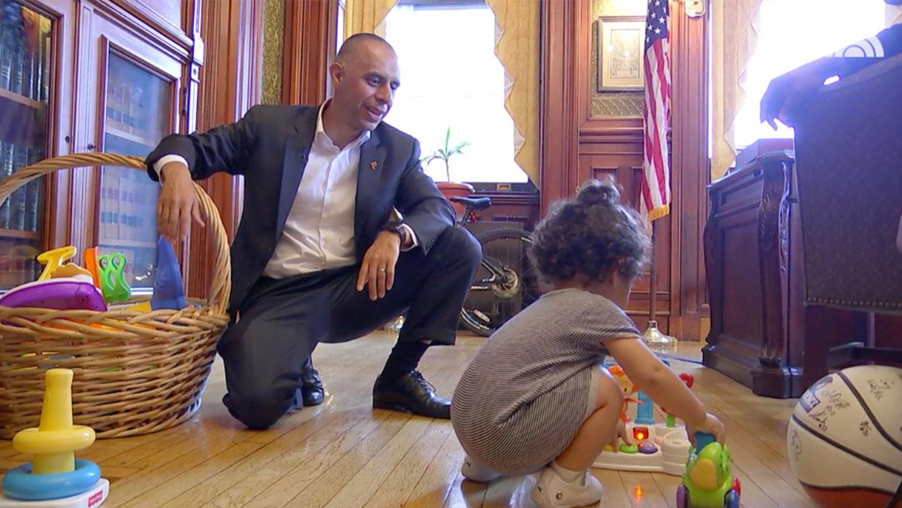 Mayor Jorge Elorza Takes son to Work