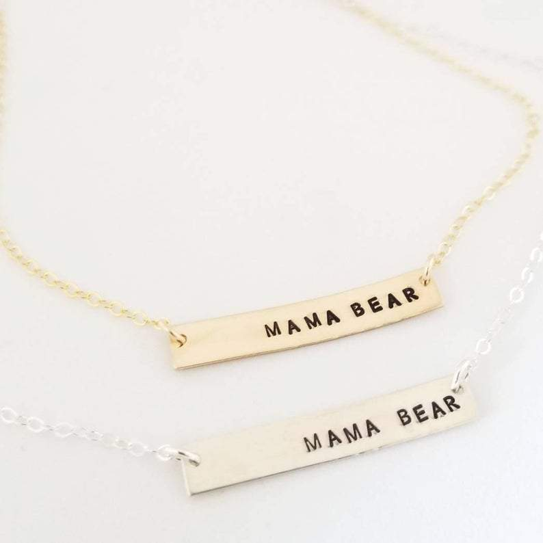 Rockaway Gypsea Mama Bear Bar Necklace- best gifts for moms