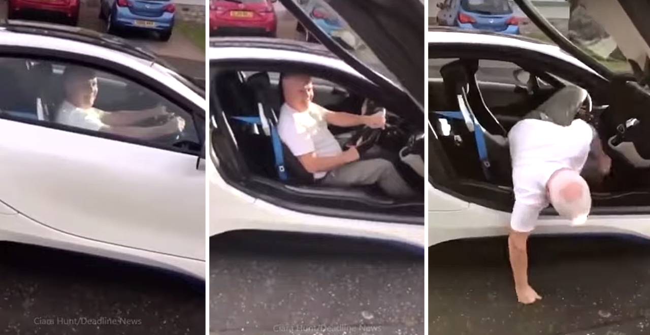 Dad Crawls Out of Sports Car