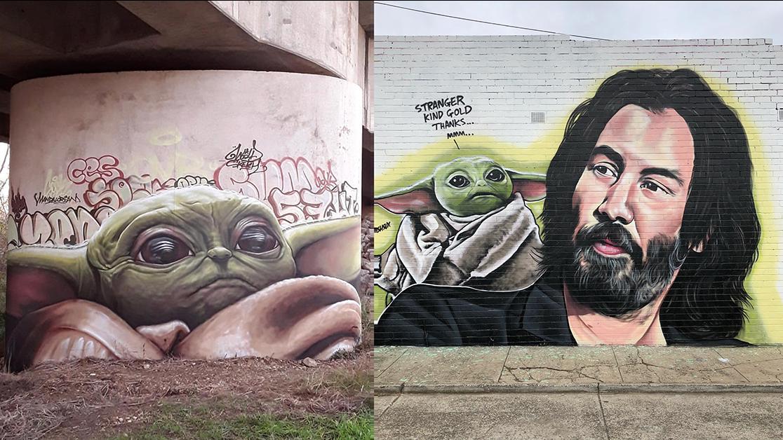 Baby Yoda Street Art