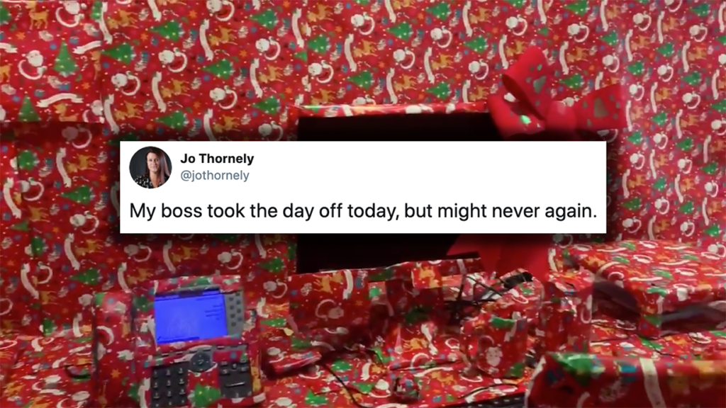 Employee Weaponizes Holiday Cheer by Gift-Wrapping Boss's Entire Office