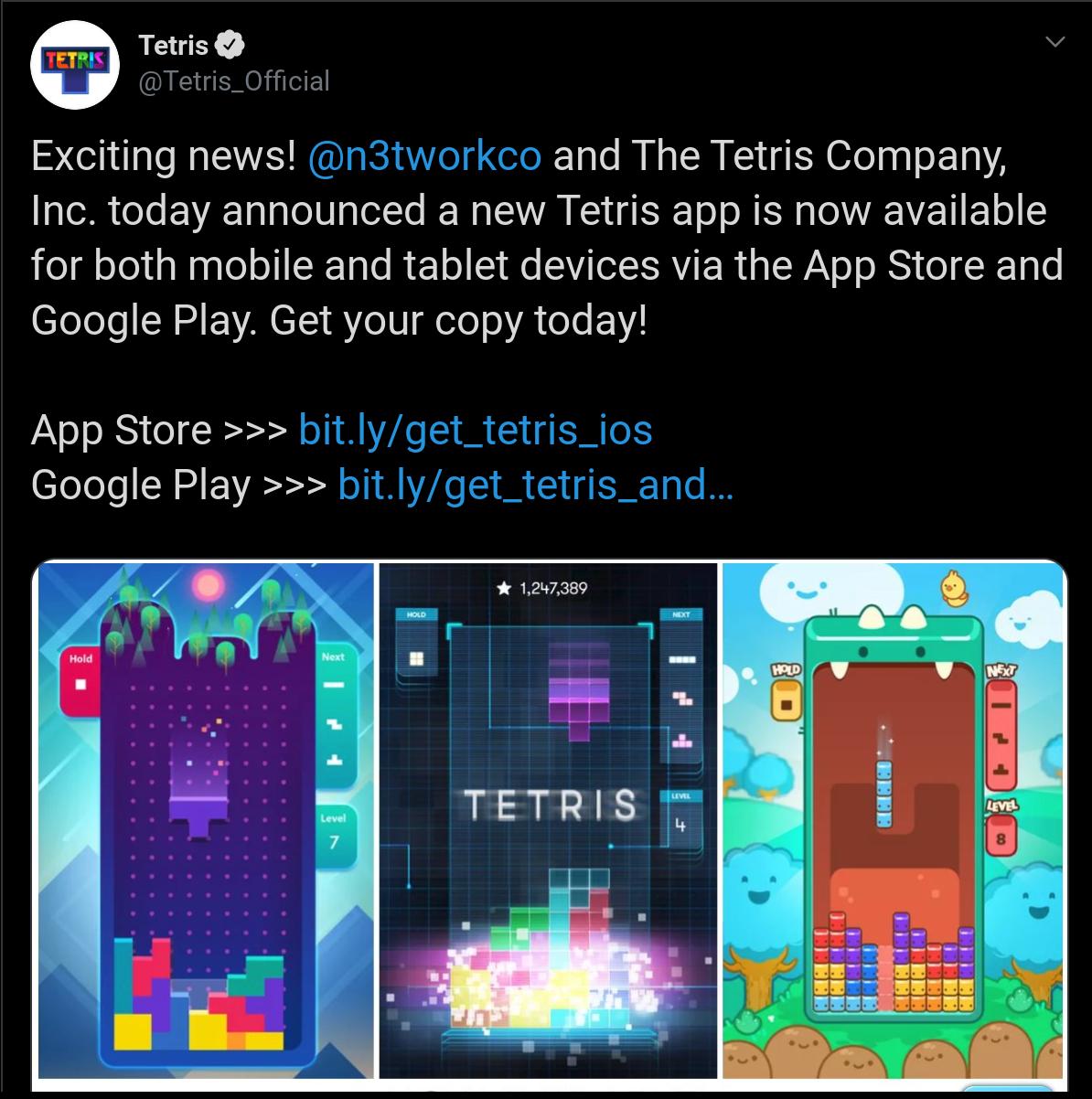Tetris Co Announcement
