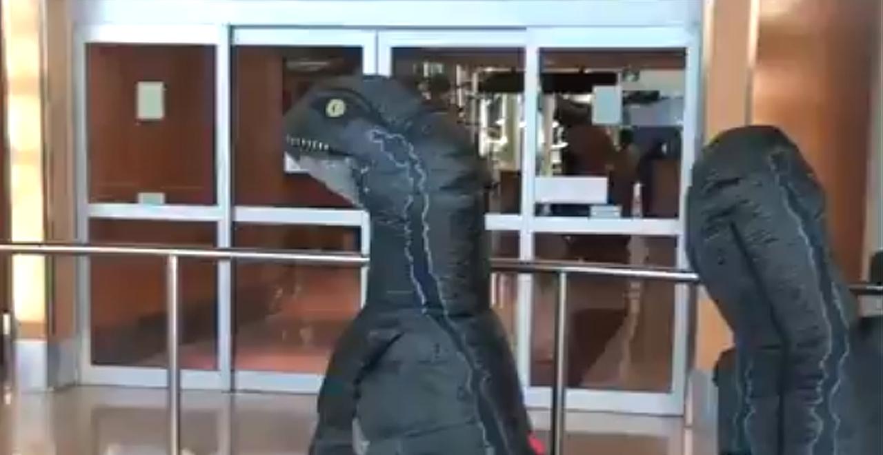 Kids Dress as Dinos at Airport