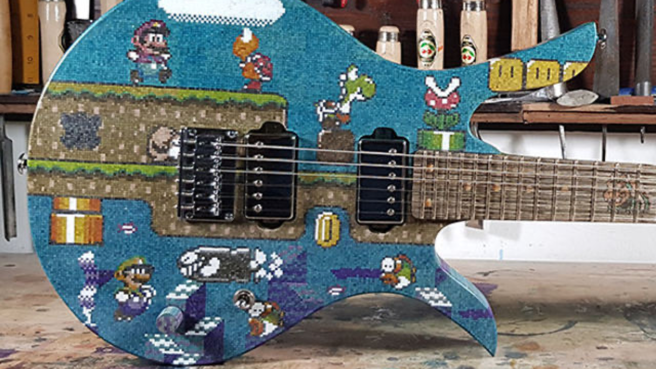 Guy Builds Mario Bros. Guitar out of 10,000 Popsicle Sticks