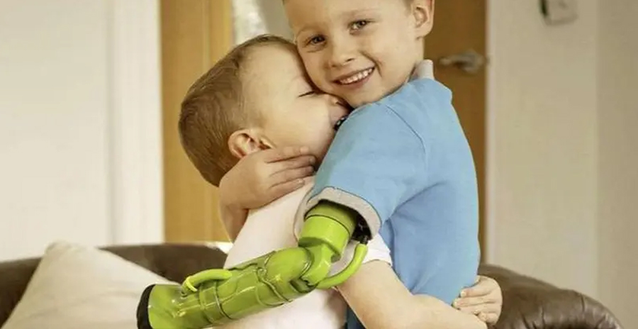 Boy Hugs Brother With Hulk Arm