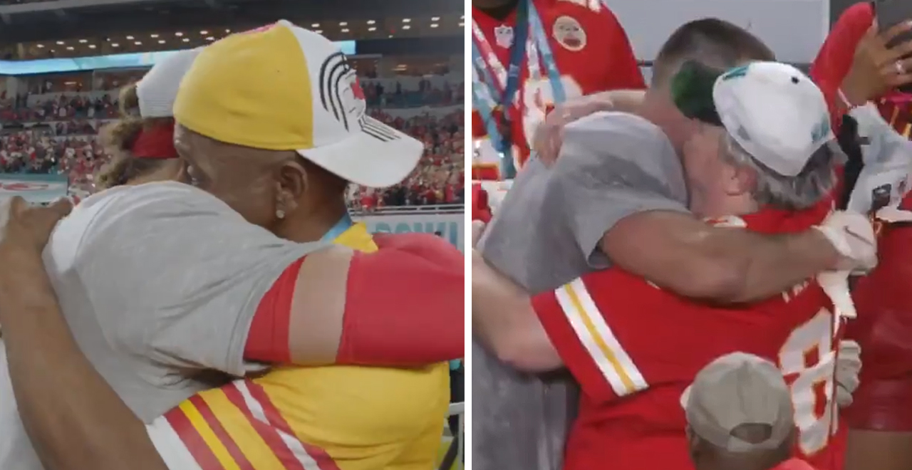 Mahomes and Kelce Hug Their Dads