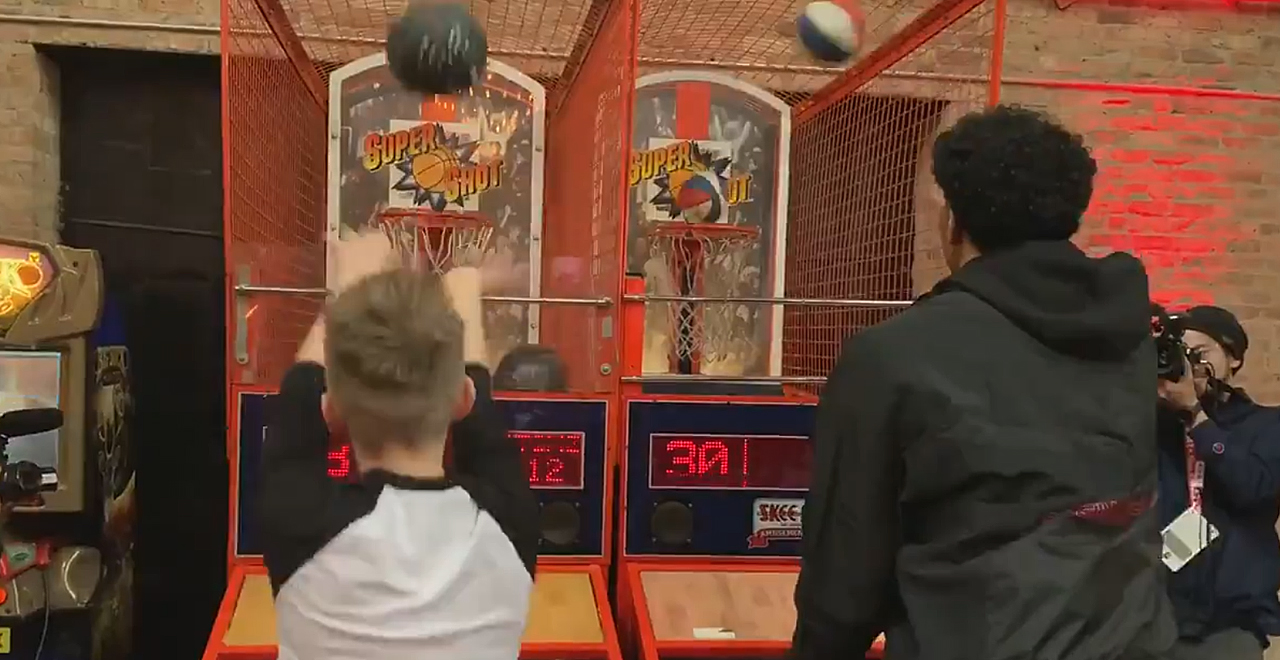 Kid Beats Rui Hachimura at Pop-A-Shot