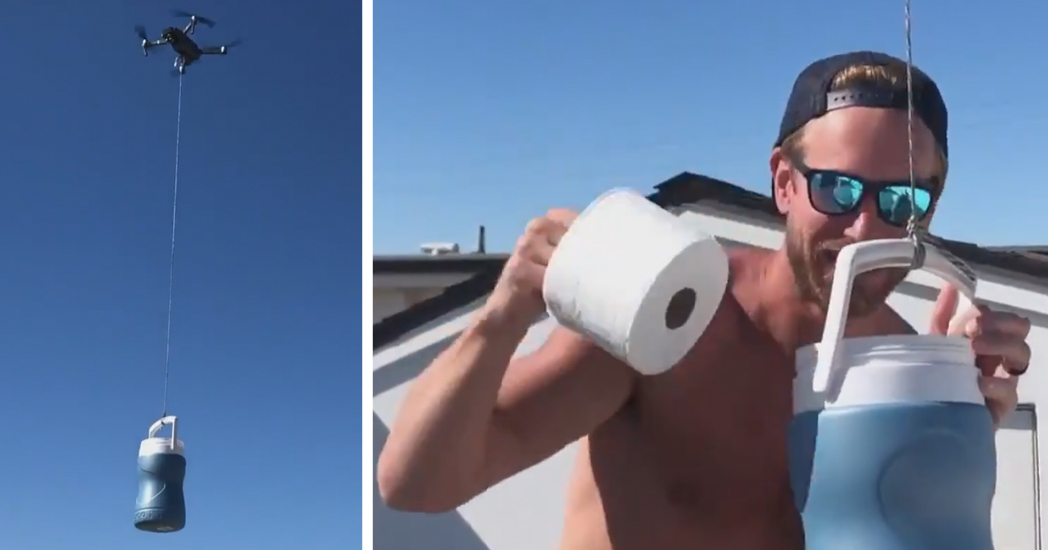 Drone Delivers Toilet Paper