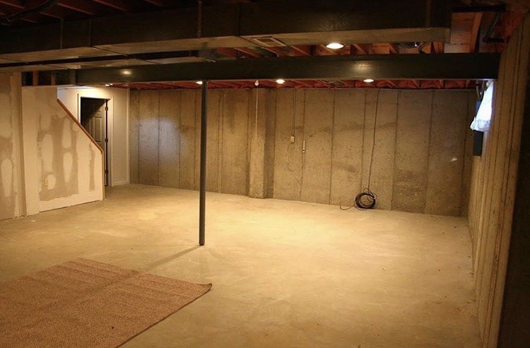 Before: how to stain concrete floors - diy basement upgrade for cheap